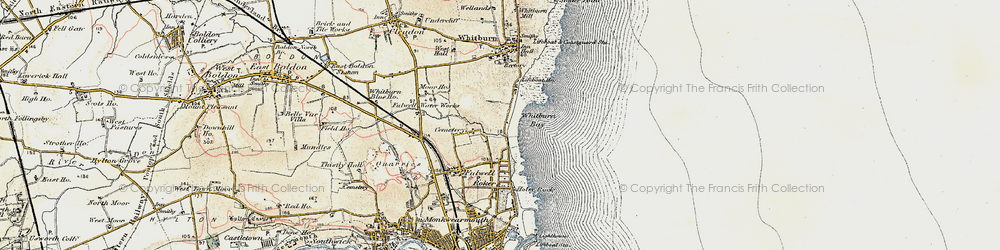 Old map of Whitburn Bay in 1901-1904