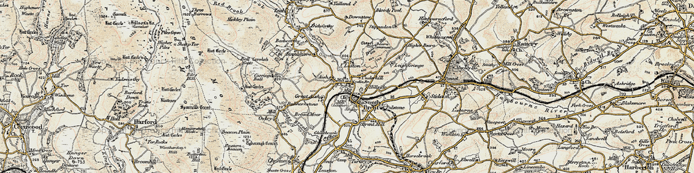 Old map of South Brent in 1899