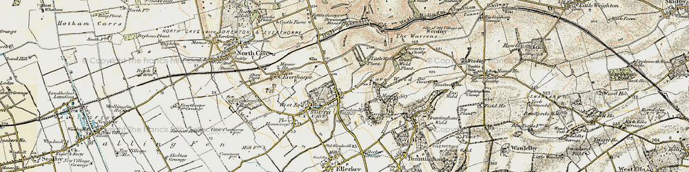 Old map of South Cave in 1903-1908