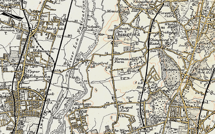 Old map of South Chingford in 1897-1898