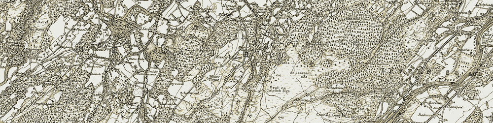Old map of Allt Coire an t-Seilich in 1908-1912