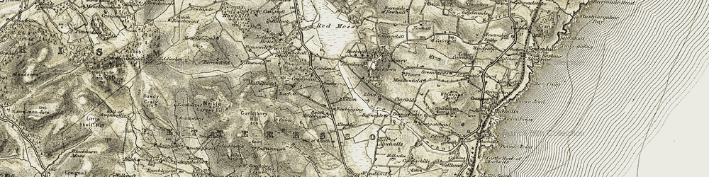 Old map of Allochie in 1908-1909