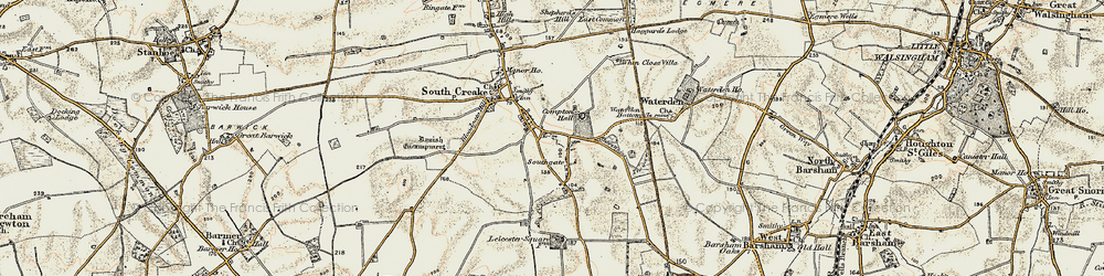 Old map of Whin Close Villa in 1901-1902
