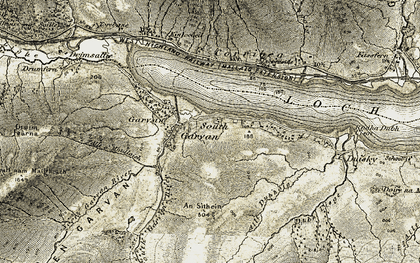 Old map of Allt a' Mhullaich in 1906-1908