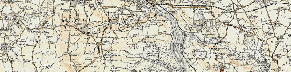Old map of Langenhoe Marsh in 1898-1899