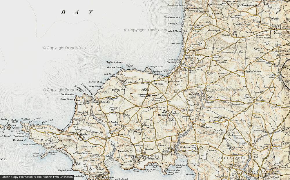 Old Map of Historic Map covering Ticklas Point in 0-1912
