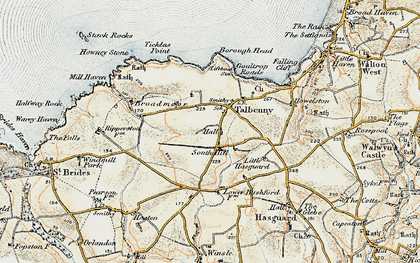 Old map of Ticklas Point in 0-1912