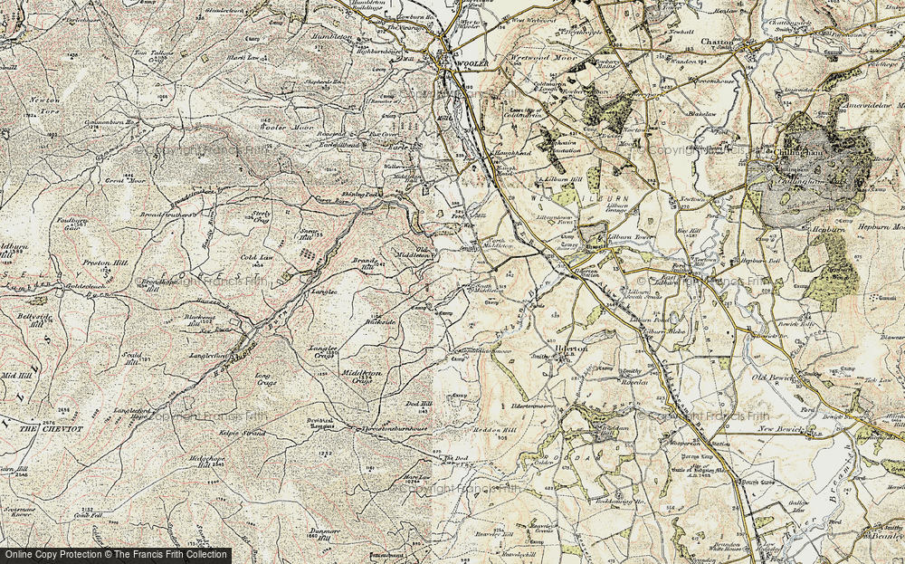 Old Map of Historic Map covering Lilburn Burn in 1901-1903