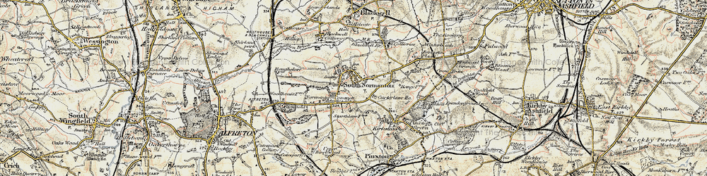 Old map of South Normanton in 1902-1903