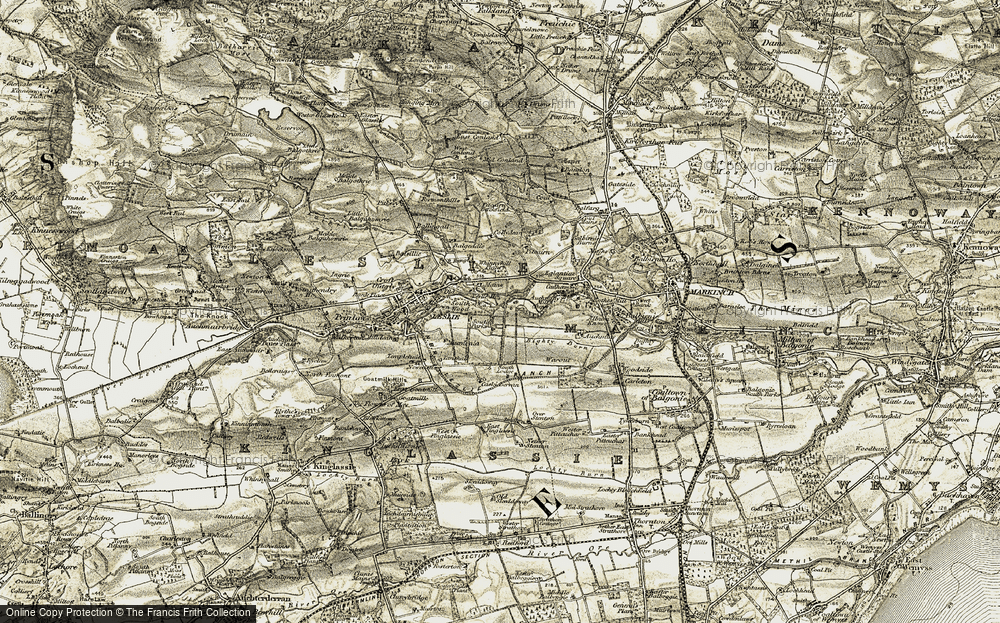 Old Map of Historic Map covering Leslie Mains in 1903-1908