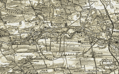 Old map of Leslie Mains in 1903-1908