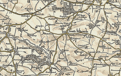 Old map of South Petherwin in 1900