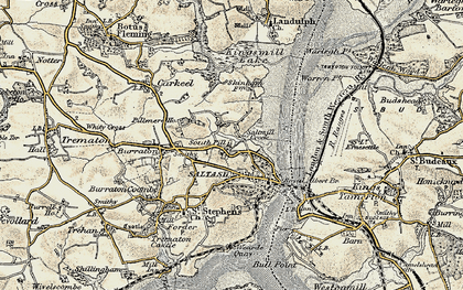 Old map of South Pill in 1899-1900