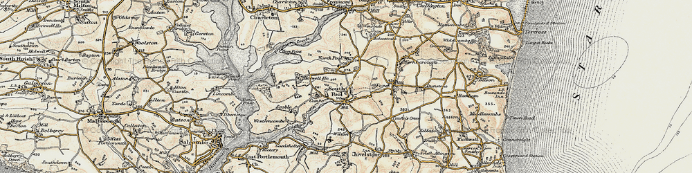 Old map of South Pool in 1899