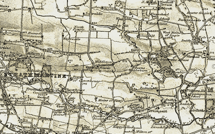 Old map of South Powrie in 1907-1908