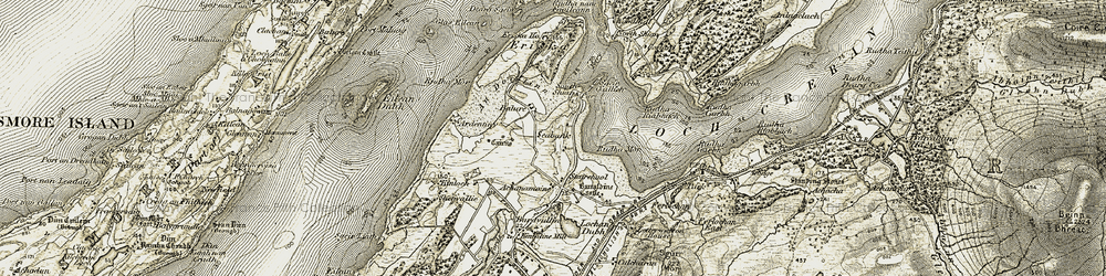 Old map of Eriska in 1906-1908
