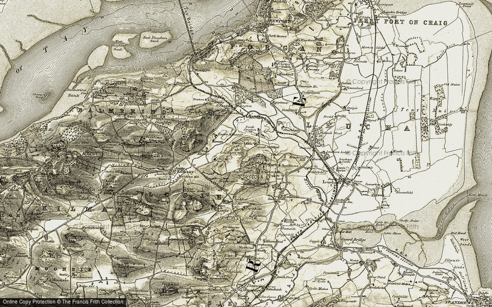 Old Map of Historic Map covering Links Wood in 1906-1908