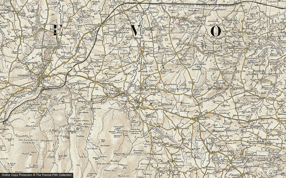 Old Map of Historic Map covering Woodball in 1899-1900