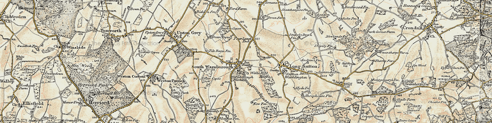 Old map of South Warnborough in 1898-1909