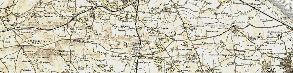 Old map of White Hurworth in 1901-1904