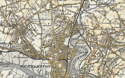 Old map of Southampton in 1897-1909