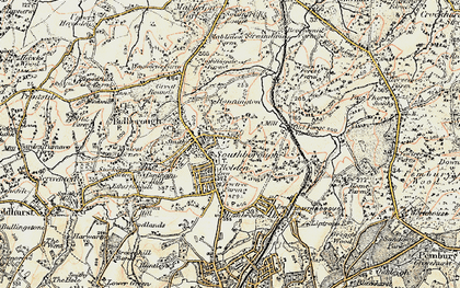 Old map of Southborough in 1897-1898