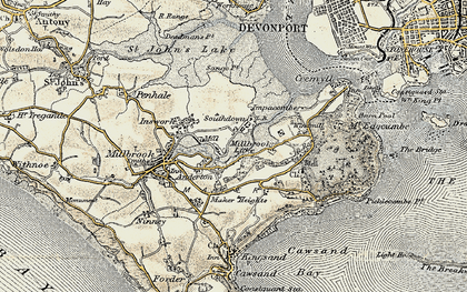 Old map of Southdown in 1899-1900