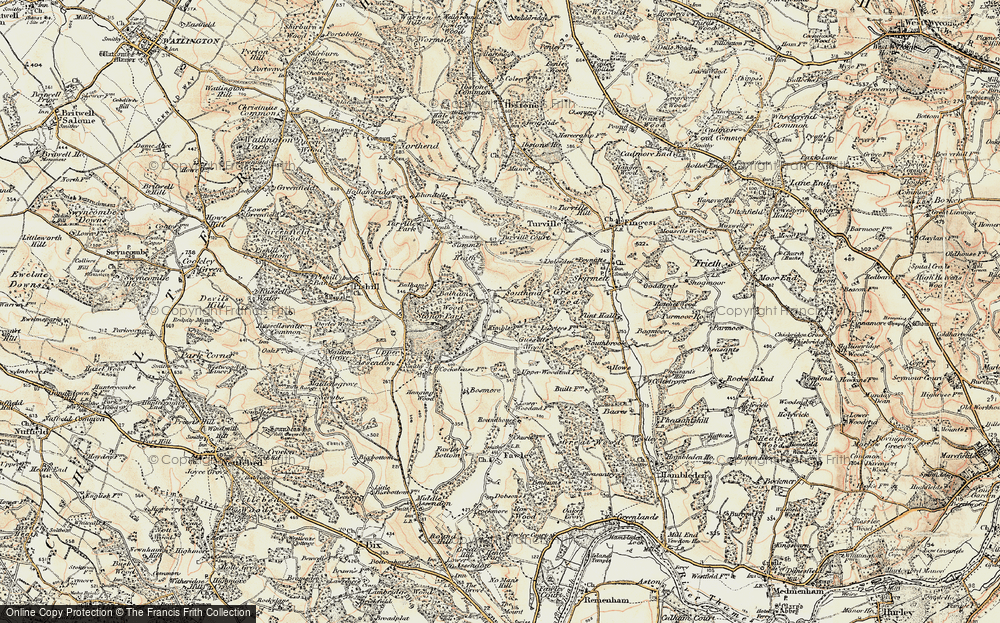 Old Map of Historic Map covering Balham's Wood in 1897-1898