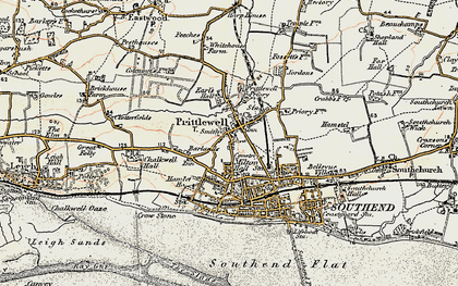 Old map of Southend-on-Sea in 1898