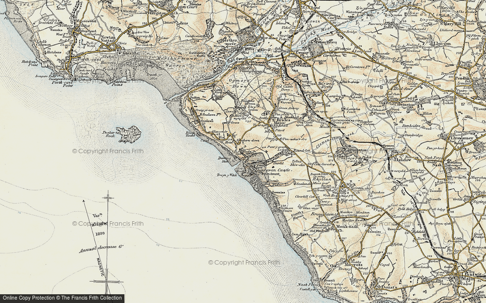 Old Map of Historic Map covering Dunraven Bay in 1900