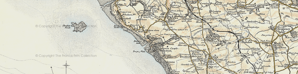 Old map of Southerndown in 1900