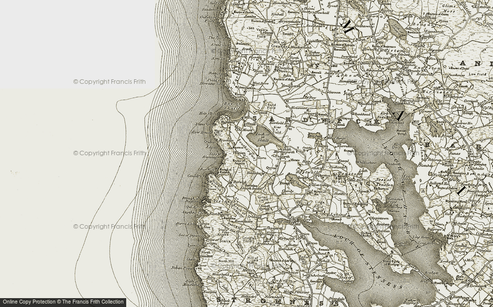 Old Map of Historic Map covering Aith in 1912