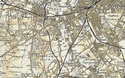 Old map of Southfields in 1897-1909