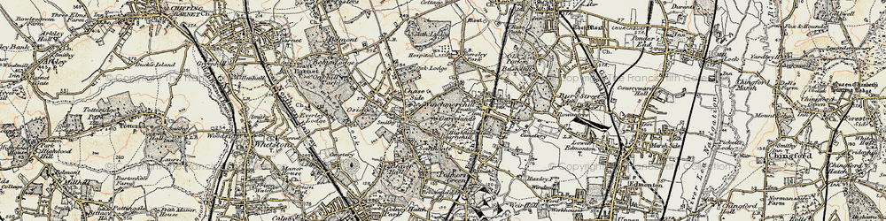 Old map of Southgate in 1897-1898