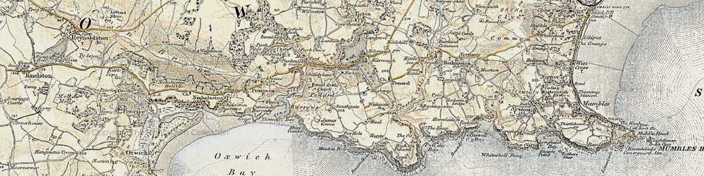 Old map of Southgate in 1900-1901