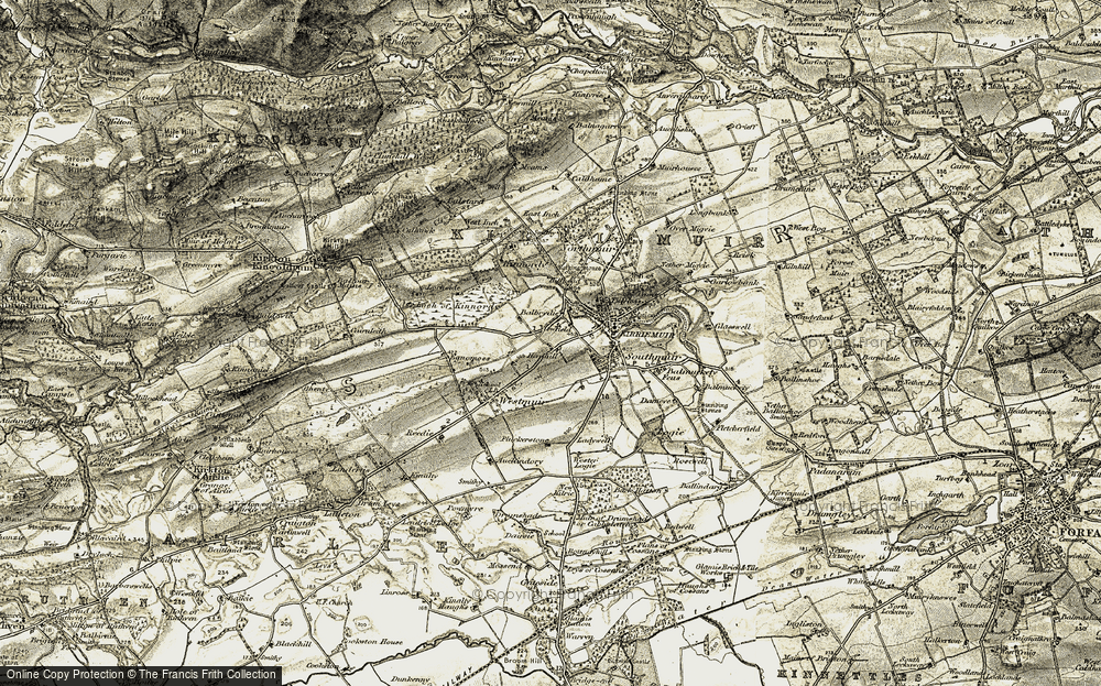 Old Map of Historic Map covering Balbrydie in 1907-1908