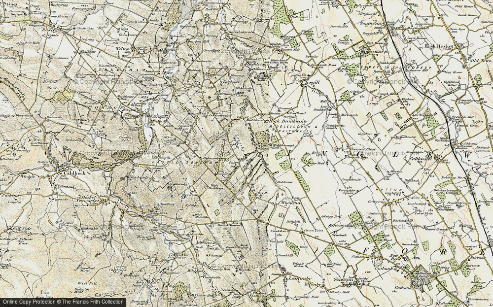 Old Map of Historic Map covering Whale Gill in 1901-1904