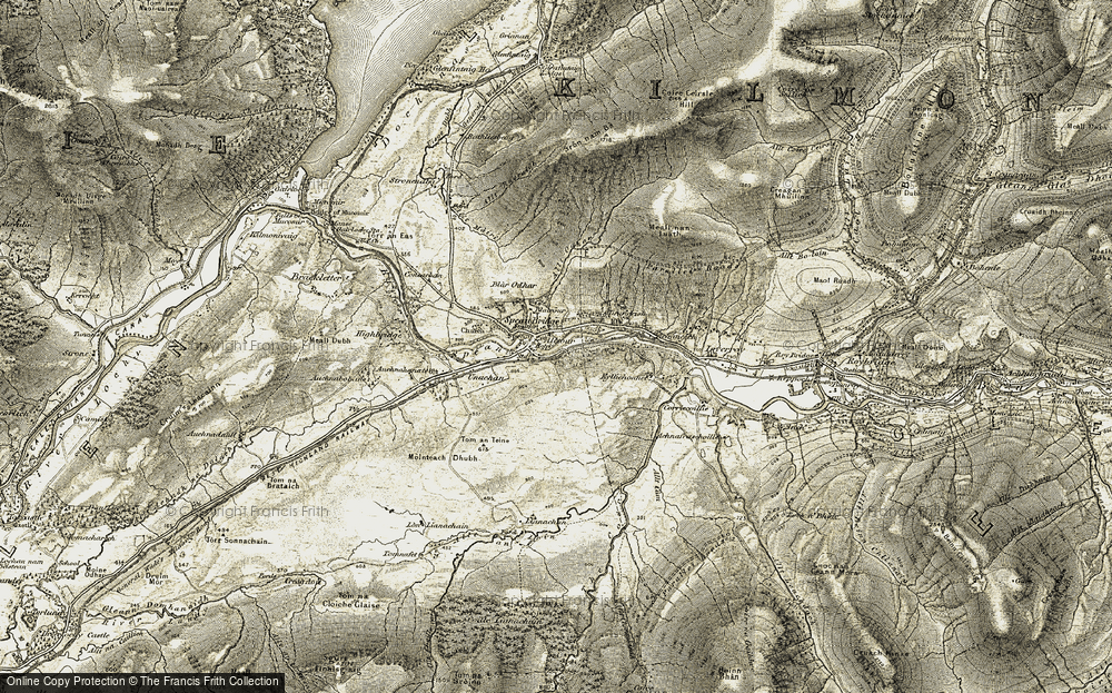 Old Map of Historic Map covering Tirindrish in 1906-1908