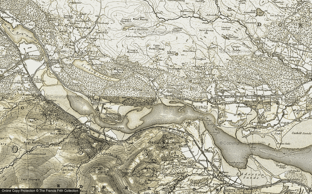 Old Map of Historic Map covering Achue in 1911-1912