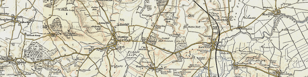 Old map of Tickhill Grange in 1903