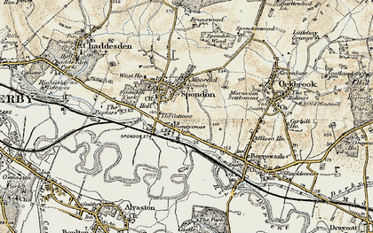 Old map of Spondon in 1902-1903