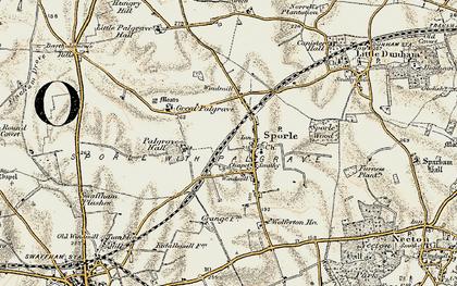 Old map of Wolferton Ho in 1901-1902