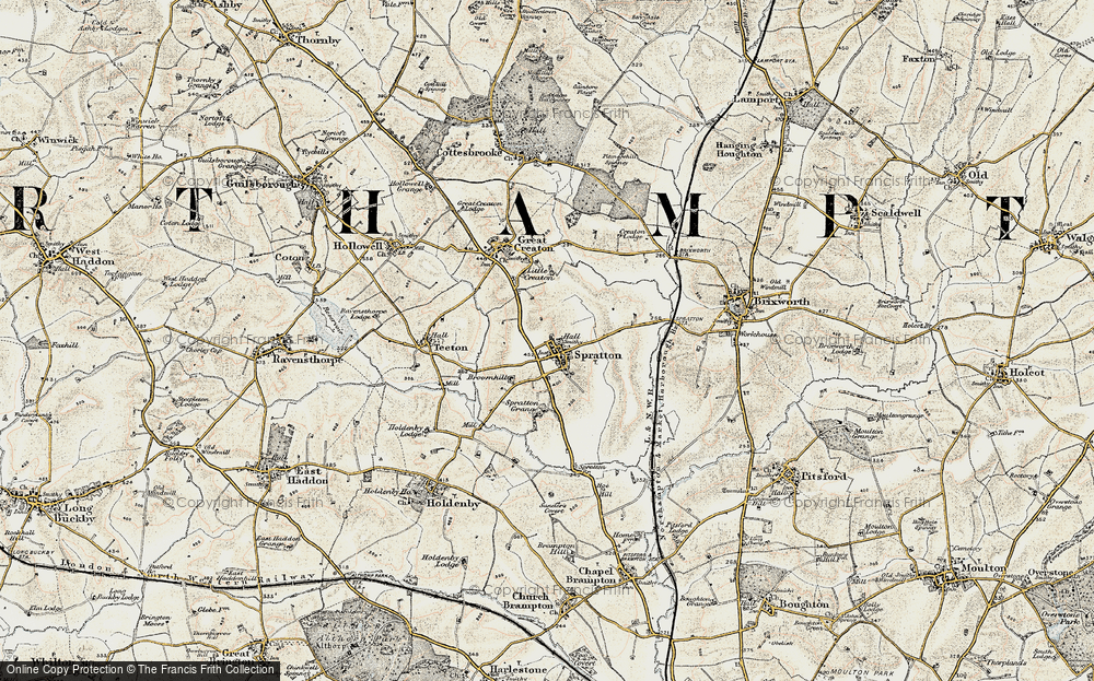 Old Map of Spratton, 1901 in 1901