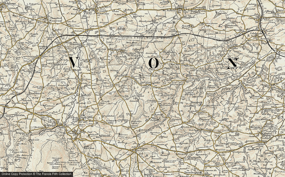 Old Map of Historic Map covering Langdown in 1899-1900