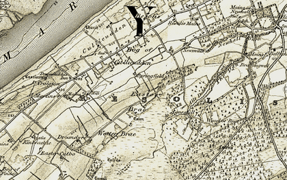 Old map of Wester Brae in 1911-1912