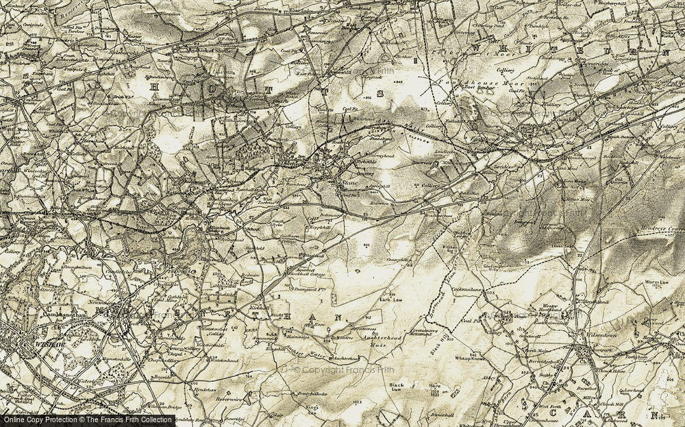Old Map of Historic Map covering Lark Law in 1904-1905