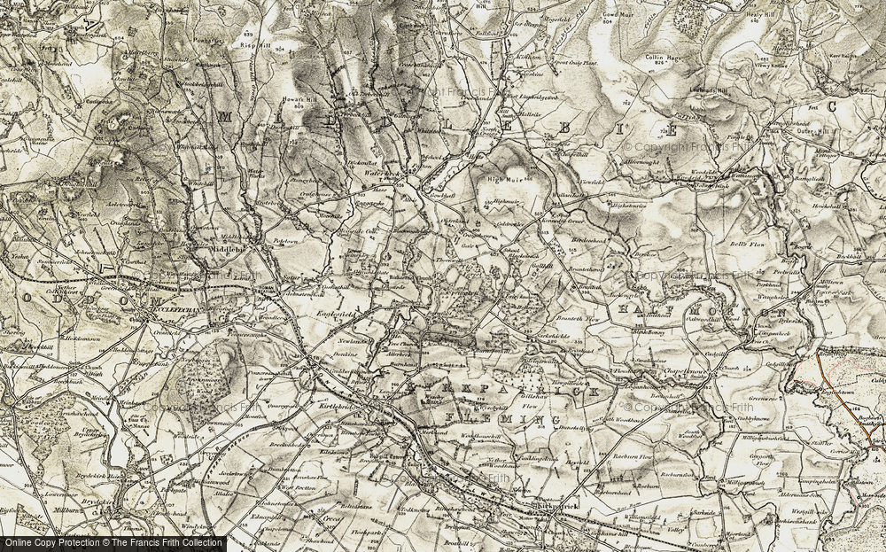 Old Map of Historic Map covering Ashyards in 1901-1904