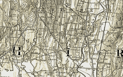 Old map of Yett in 1901-1905