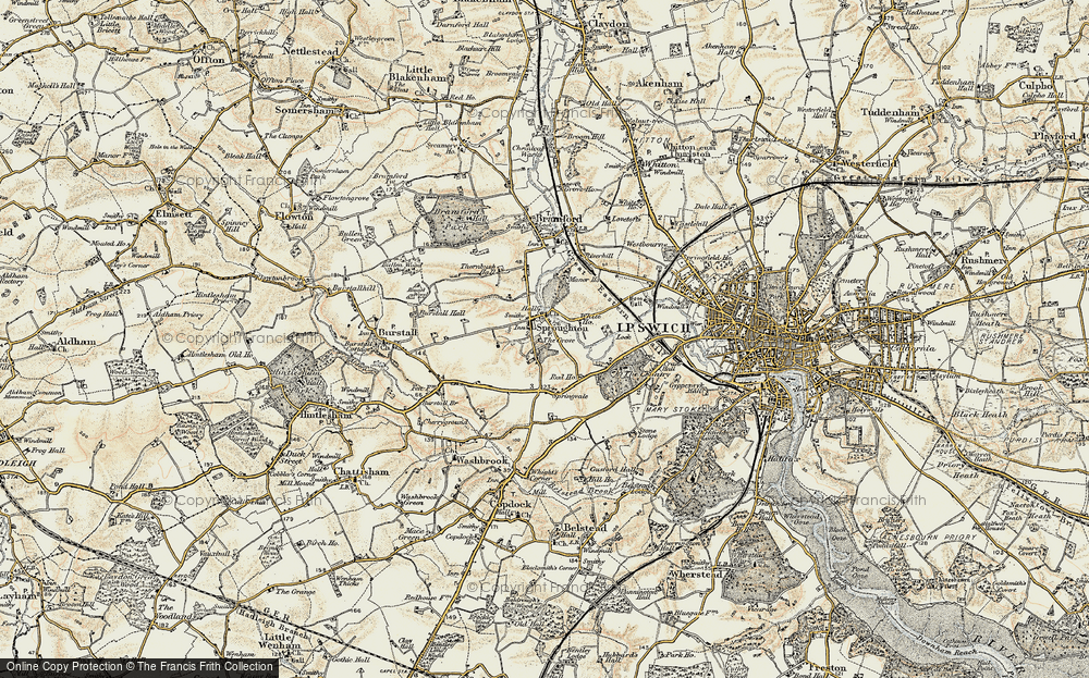 Old Map of Historic Map covering Abbey Oaks in 1898-1901