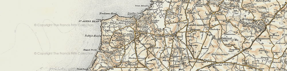 Old map of St Agnes in 1900